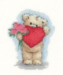 "HCK1138A Heritage Crafts Kit Toffee with Heart Bear  by Sue Hill 3.6"" x 4.8"" Aida;14ct"