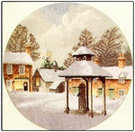 "HCK396 Heritage Crafts Kit Winter Village by John Clayton 10"" Circle; Evenweave; 27ct"