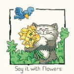 "HCK911 Heritage Crafts Kit Say It With Flowers by Peter Underhill - Cats-Rule! 5"" x 5.5""  Evenweave 28ct"