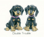 "HCK1086 Heritage Crafts Kit Double Trouble Dog's Life by Peter Underhill 6.75"" X 5.75"" Evenweave 27ct"
