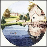 "HCK242 Heritage Crafts Kit Duck Pond by John Clayton 10"" Circle; Evenweave; 27ct"