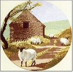 "HCK244 Heritage Crafts Kit Sheep Track  by John Clayton 10"" Circle; Evenweave; 27ct"