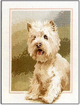 "HCK417 Heritage Crafts Kit Westie Dog John Stubbs 6"" x 9"" Evenweave 28ct"