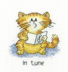 "HCK1067 Heritage Crafts Kit In Tune Cat by Peter Underhill 4"" x 4"" Evenweave 27ct"