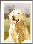 "HCK419 Heritage Crafts Kit Golden Retriever Dog - John Stubbs 6"" x 9""; Evenweave; 28ct"