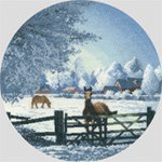 "HCK1057 Heritage Crafts Kit Hard Frost by John Clayton 10"" Circle; Evenweave; 27ct"