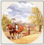 "HCK338 Heritage Crafts Kit Teamwork by John Clayton 10"" Diameter; Evenweave; 28ct"