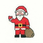 "HCK968A Heritage Crafts Kit Santa 2.5"" x 2.5"" ; Aida; 14c"