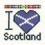 "HCK641A Heritage Crafts Kit  I Love Scotland 2.5"" x 2.5"" ; Aida; 14c"