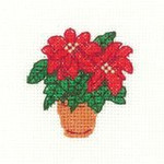 "HCK967A Heritage Crafts Kit Poinsettias 2.5"" x 2.5"" ; Aida; 14ct"