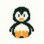 "HCK966A Heritage Crafts Kit Penguin 2.5"" x 2.5"" Aida; 14ct"