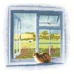 "HCK834 Heritage Crafts Kit Cottage Window by John Clayton 9.5"" x 9.5""; Evenweave; 27ct"