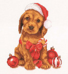 "GOK730A Thea Gouverneur Kit Christmas Puppy 12"" x 12""; Aida; 16ct"