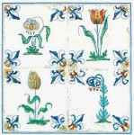 "GOK485 Thea Gouverneur Kit Antique Tiles Flowers 11"" x 11"" ; Linen; 36ct"