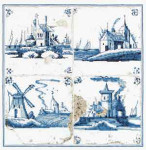 "GOK484 Thea Gouverneur Kit Antique Tiles Villages 11"" x 11"" ; Linen; 36ct"