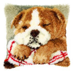 PNV147788 Vervaco Latch Hook Kit Sleeping Bulldog Pillow