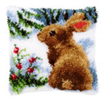 PNV147712 Vervaco Latch Hook Kit Rabbit in the Snow Pillow
