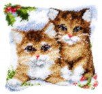 "PNV145251 Vervaco Latch Hook Kit Snow Cats Pillow 16"" x 16""; Canvas; 18ct"