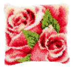 PNV146445 Vervaco Latch Hook Kit Pink Rose and Rosebud I Pillow