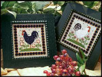 09-1895 Two Roosters Stitch Count for each rooster 67 x 67 by Little House Needleworks