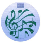 HO683 Raymond Crawford Designs 3.5 x 4 18 Mesh MUSIC ORNAMENT GREEN