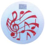 HO682 Raymond Crawford Designs MUSIC ORNAMENT RED 3.5 x 4, 18 Mesh