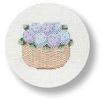 "MBM-XO23 Nantucket Basket with Hydrangeas 18 Mesh  4.5"" Rnd. Melinda B. McAra"