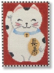 "MBM-XO28 Lucky Cat with Charm 18 Mesh 3.5"" x 5"" Melinda B. McAra"