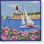 "MBM-PL35 Sailboat, Lighthouse, & Cape Roses 13 Mesh 8.25 x 8.5"" Melinda B. McAra"