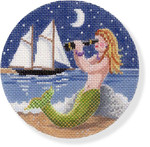 "MBM-XO24 Mermaid with Spyglass 18 Mesh  4.5"" Rnd. Melinda B. McAra"