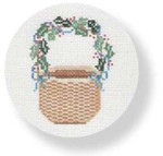 "MBM-XO4 Nantucket Basket - holly on handle 18 Mesh  4.5"" Rnd. Melinda B. McAra"