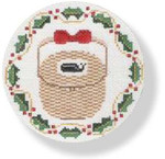 "MBM-XO5 Nantucket Basket - holly border 18 Mesh  4.5"" Rnd.  Melinda B. McAra"