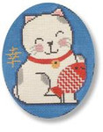 "MBM-XO27 Lucky Cat with Fish 18 Mesh 4"" x 4.5""  Melinda B. McAra"