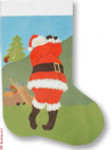 "R-C1014 Santa Golfing 13 Mesh 17"" Needlepoint Boutique Designs"