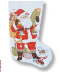 R-C1001 Christmas Stocking Santa & Toys 13 Mesh 17.5 Needlepoint Boutique Designs