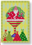 "Michele Noiset MN-PL 01 Santa in Martini Glass w/Border 18 Mesh 6.5"" x 9.5"""