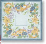 "R-P1025 Floral with Gold Beads 13 Mesh 13.25"" Needlepoint Boutique Designs"