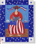 CBK Designs Janis J. Mattox JJM-PL 05 Patriotic Woman with Fish 18 Mesh 10x13""