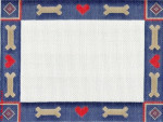 "405a  Dog Bones & Hearts-navy 18 Mesh 7.75 x 5.75"" CBK Designs Keep Your Pants On"