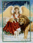 08-1080 Angel Lion And Lamb by Heaven And Earth Designs