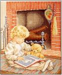 Evening Hour (Boy & Teddy Reading) Permin Graphs)