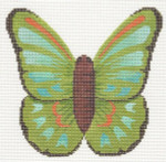 "LL440J Labors Of Love Green Butterfly 18 Mesh 5.25"" x 5"""