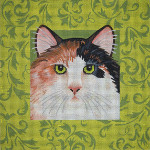 "JP Designs A026 ""Calico Cat w/Green Damask"" 10x10"" - 13 Mesh"