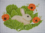 JP Designs A061 Bunny In Cabbage With Poppies 10 x 13