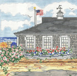 SWB178 Cottage with Boat 10X10 18 Mesh Cooper Oaks Designs