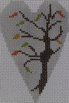 563E NeedleDeeva 18 Mesh 2.25X3.5 Fall Tree Heart