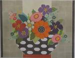 330 NeedleDeeva 11.75 x 9.5 18 Mesh Flowers in Black and White Vase