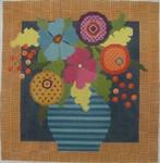 321 NeedleDeeva 12.5 x 12.513 Mesh Turquoise Flowers