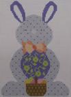 610D NeedleDeeva 4.75 x 6.75 18 Mesh Blue with Dots Bunny