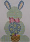 610E NeedleDeeva 4.75 x 6.75 18 Mesh Blue and Yellow Plaid Bunny